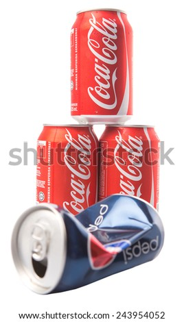 KUALA LUMPUR, MALAYSIA - JANUARY 14TH, 2015. Pepsi and Coca Cola soft drinks. Since the 1980's both company has been involved in mutually-targeted TV ads marketing campaign dubbed as the COLA WARS.
