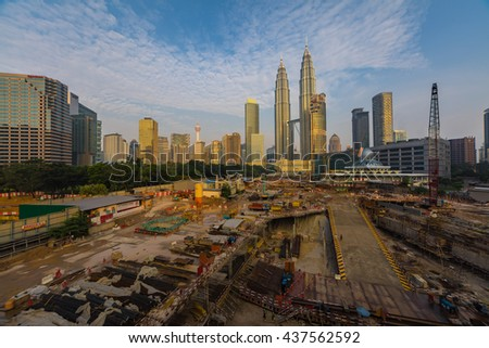 KUALA LUMPUR, MALAYSIA, JULY 24, 2015 : Construction site of Four Season Place, a 65-storey building comprises of apartments and a hotel in Kuala Lumpur, Malaysia. Picture taken on July 24, 2015.