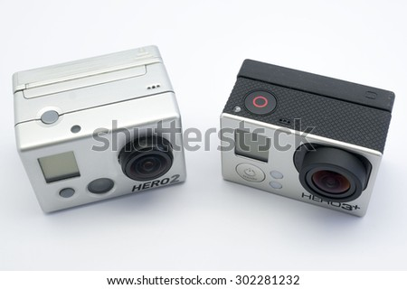 KUALA LUMPUR, MALAYSIA - JULY 31th 2015. GoPro Hero 2 & 3+. Gopro manufactures and markets high-definition action cameras, often used in extreme-action videography based in US. - stock photo