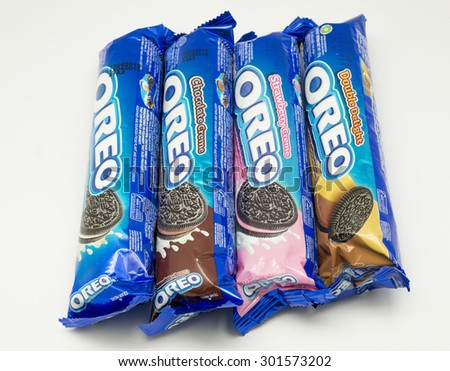 KUALA LUMPUR, MALAYSIA - JULY 30th 2015. Variety of Oreo flavors. Oreo is a sandwich cookie with a sweet cream is the best selling cookie in the US. - stock photo