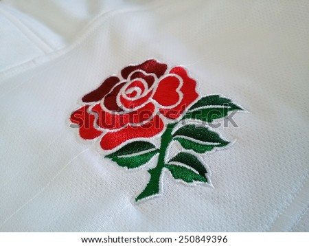 KUALA LUMPUR, MALAYSIA-JUNE 11, 2014: Close up view of England rugby jersey manufactured by Canterbury in Kuala Lumpur, Malaysia. Canterbury of New Zealand in a NZ-based sports clothing company.