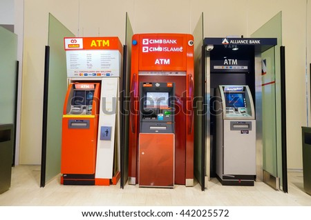 KUALA LUMPUR, MALAYSIA - June 23, 2016: Commercial bank ATM booths in Pavilion Mall Kuala Lumpur, Malaysia