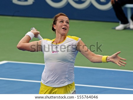 Kuala Lumpur, Malaysia, March 02, 2013: Anastasia Pavlyuchenkova of Russia returns a shot during the WTA Malaysian Open tennis tournament.