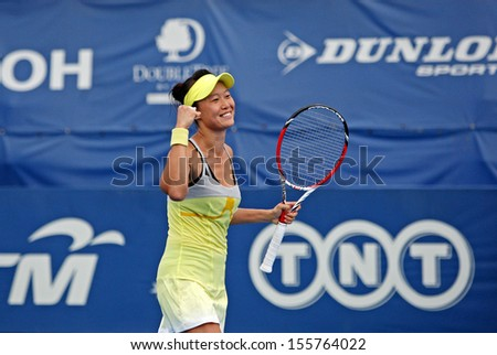 Kuala Lumpur, Malaysia, March 04, 2013: Chang Kai-Chen of Taiwan gestures during the WTA Malaysian Open tennis tournament. - stock photo