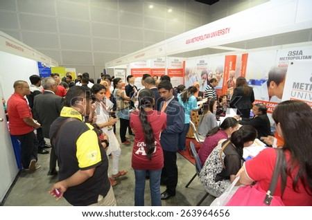 KUALA LUMPUR, MALAYSIA -MARCH 14: Exhibition during the Falcon Education Fair 2015 at Kuala Lumpur Convention Centre (KLCC) free and open to the public at Kuala Lumpur. - stock photo