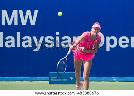 KUALA LUMPUR, MALAYSIA-MARCH 3:Naomi Broady of Great Britain serves during Day 4 of BMW Malaysian Open on March 3, 2016 at KLGCC in Kuala Lumpur, Malaysia