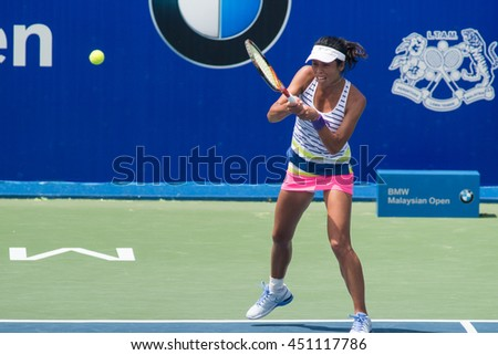 KUALA LUMPUR, MALAYSIA-MARCH 2:Su-Wei Hsieh of Chinese Taipei returns a ball during Day 3 of BMW Malaysian Open on March 2, 2016 at KLGCC in Kuala Lumpur, Malaysia