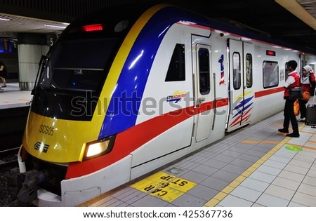 KUALA LUMPUR, MALAYSIA -18 MARCH 2016- The Kuala Lumpur Sentral railway station (KL Sentral) is the largest train station in Malaysia. - stock photo