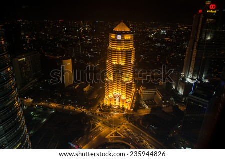KUALA LUMPUR, MALAYSIA - May 17: A view from Petronas Twin Towers at day on May 17, 2013 in Kuala Lumpur. Petronas Twin Towers were the tallest buildings (452 m) in the world from 1998 to 2004  - stock photo