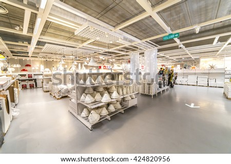 """KUALA LUMPUR, MALAYSIA - MAY 22, 2016 :Interior furniture store """"Ikea"""" in Malaysia. Founded in Sweden in 1943, Ikea is the world's largest furniture retailer. - stock photo"""