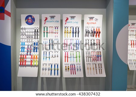 KUALA LUMPUR, MALAYSIA - MAY 09, 2016: swatch store in Suria KLCC. Suria KLCC is located in the Kuala Lumpur City Centre district. It is in the vicinity of the landmark the Petronas Towers. - stock photo