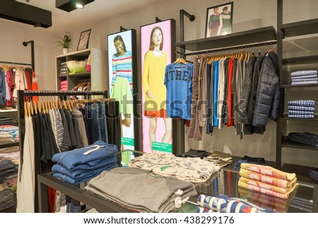 KUALA LUMPUR, MALAYSIA - MAY 09, 2016: United Colors of Benetton in Suria KLCC. Benetton Group S.r.l. is a global fashion brand, based in Ponzano Veneto, Italy. - stock photo