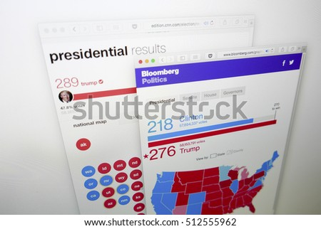 KUALA LUMPUR, MALAYSIA - NOV 9, 2016: Screen capture of Bloomberg and CNN news website on 2016 US election results won by Donald Trump of Republicans beating Hillary Clinton of Democrats.