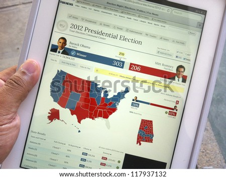 KUALA LUMPUR, MALAYSIA-NOV. 7:Screen capture of 2012 US Presidential Election result on an Apple iPad 3 in K. Lumpur on Nov. 7, 2012. Barack Obama defeated Mitt Romney for the second term in office. - stock photo