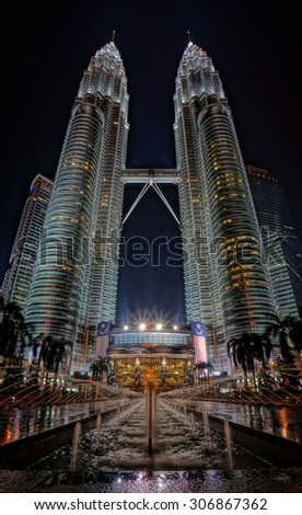 KUALA LUMPUR, MALAYSIA - SEPTEMBER 2015 - Facade of KLCC twin towers taken on 1 September 2015. KLCC is the tallest building in Malaysia. - stock photo