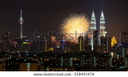 KUALA LUMPUR, MALAYSIA - 31ST AUGUST 2012; Merdeka Day fireworks display is held in commemoration of Malaysia's Independence at Dataran Merdeka; one of the most colourful events celebrated annually.