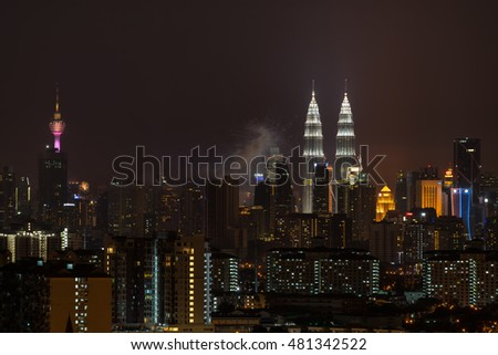 KUALA LUMPUR, MALAYSIA - 31ST AUGUST 2016; Merdeka Day fireworks display is held in commemoration of Malaysia's Independence at Dataran Merdeka; one of the most colourful events celebrated annually.