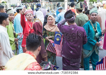 Kuala Lumpur, Malaysia - 31st August 2017. The participants relaxing and mingling before the Malaysia National Day Parade at Merdeka Square.