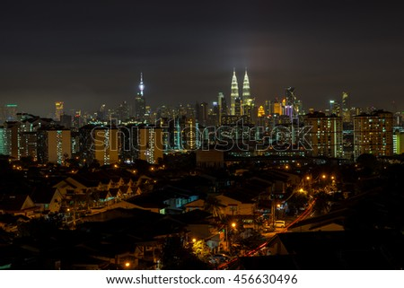 KUALA LUMPUR, MALAYSIA - 21ST JULY 2016; Kuala Lumpur, the capital of Malaysia. Its modern skyline is dominated by the 451m-tall KLCC, a pair of glass-and-steel-clad skyscrapers.