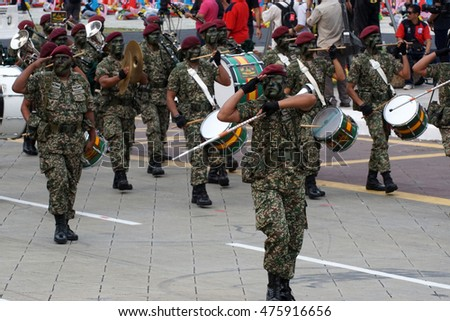 KUALA LUMPUR, MALAYSIA - 29th AUGUST 2016 : Rehearsal parade for celebrating the independence day of Malaysia. Malaysia Independence Day Parade will be held on August 31,2016.