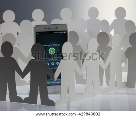 Kuala Lumpur Malaysia, 28th may 2016, of people man surrounding  at social network whatsapp sign in page on smartphone - stock photo