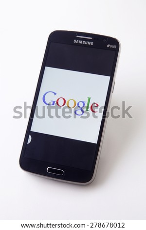 Kuala Lumpur,Malaysia,14th May,2015.Smart phone with Google logo on a screen - stock photo