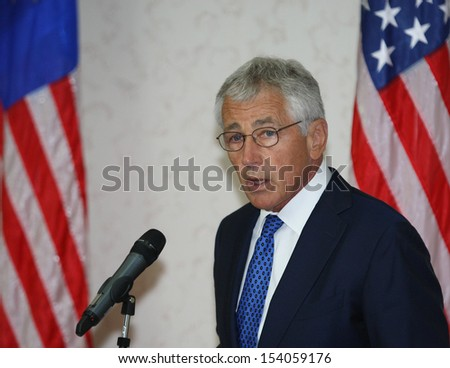 KUALA LUMPUR, MALAYSIAUnited States (US) Secretary of Defence Chuck Hagel gestures during a press conference in Kuala Lumpur, Malaysia, 25 August 2013.  - stock photo