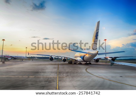 KUALA-LUMPUR - MAY 06: Airbus A380 in the airport on May 06, 2014 in Kuala-Lumpur, Malaysia. Malaysia Airlines is the flag carrier of Malaysia and a member of the Oneworld airline alliance - stock photo