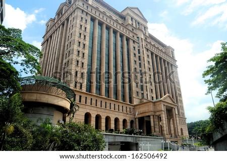KUALA LUMPUR, November 1, 2013: Malaysian stock exchange building in Kuala Lumpur, Malaysia - stock photo