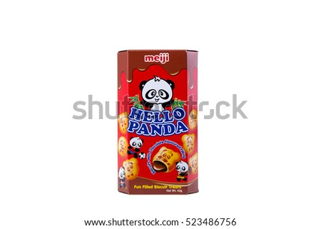 Kuala Lumpur - NOVEMBER 27, 2016: 2 ounce box of Meiji brand Hello Panda Biscuits with Choco Cream Filling. New Sports Printing on each biscuit!