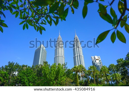 KUALA LUMPUR - 10 OCTOBER 2015: Part of Kuala Lumpur skyline with line of corporate building.