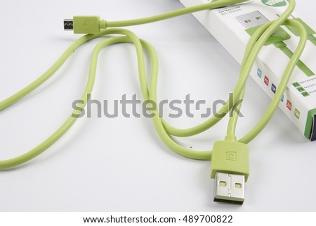 KUALA LUMPUR , 20 SEPT 2016: REMAX USB Cable Plug isolated on White Background. REMAX is a trusted brand in industry.