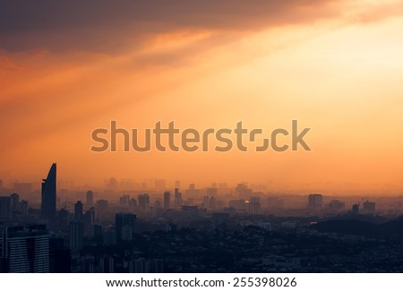 Kuala Lumpur Skyline at sunset. Grain added - stock photo
