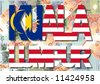Kuala Lumpur text with collage of colourful Malaysia currency illustration - stock photo