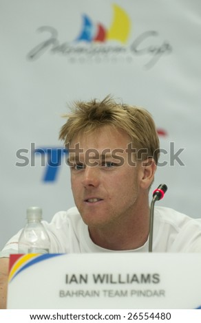 KUALA TERENGGANU, MALAYSIA - DEC 4 : Helmsman Ian Williams of Bahrain Team Pindar during press conference at Monsoon Cup 2008 in K. Terengganu, Malaysia on December 4, 2008.