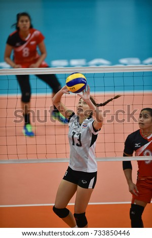 Kualalumpur-Malaysia-27aug2017:Nootsara Tomkom player of thailand in action during competition female volleyball 29th SEAgames between thailand and indonesia at mitec,malaysia