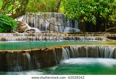 Kuang Si Waterfall, Luang prabang, Laos - stock photo