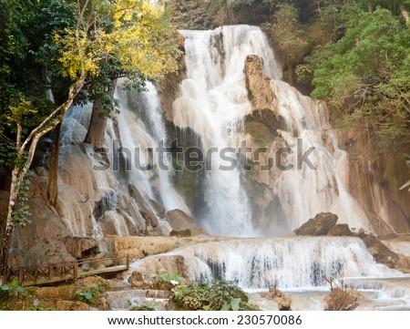 Kuang Si Waterfall near Luang Prabang, Laos - stock photo