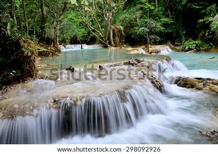 Kuangsri Waterfall in Hongha District, Lao PDR - stock photo