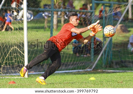 Kuantan, Pahang - February 02, 2016: Third goalkeeper Daniel of Pahang FC in action during training session at Taman Gelora field, Kuantan
