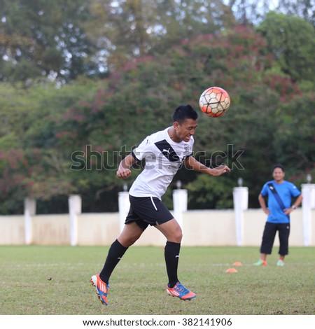 Kuantan, Pahang - JAN 28: Faizal Abd Rani heads the ball during the training Pahang FC Team at Taman Gelora field - stock photo