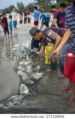 KUANTAN, PAHANG, MALAYSIA - MAY 03 2015: Unidentified local fisherman with their children together pull the trawl to earn sea catches after sunrise at the Black Stone beach during school holidays.