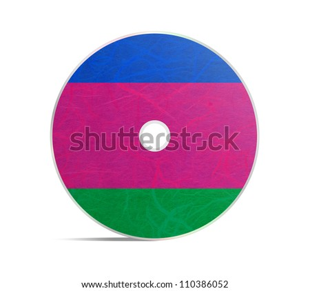 Kuban Peoples Republic flag DVD. Mulberry paper on white background. - stock photo