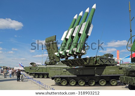 KUBINKA, MOSCOW OBLAST, RUSSIA - JUN 18, 2015: International military-technical forum ARMY-2015. The Buk (SA-11 Gadfly)- russian self-propelled, medium-range surface-to-air missile system - stock photo
