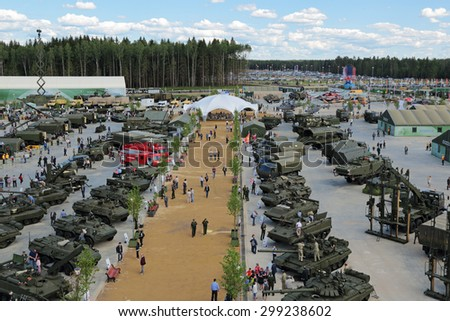 KUBINKA, MOSCOW OBLAST, RUSSIA - JUN 17, 2015: International military-technical forum ARMY-2015 in military-Patriotic park. Top view, panorama - stock photo