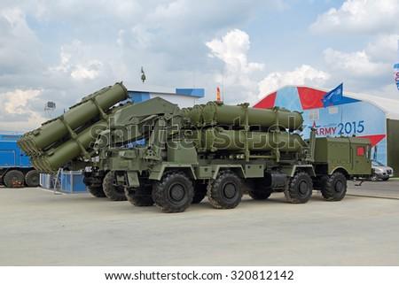 KUBINKA, MOSCOW OBLAST, RUSSIA - JUN 15, 2015: International military-technical forum ARMY-2015 in military-Patriotic park. Coastal anti-ship missile complex BAL (NATO reporting name SSC-6 Sennight) - stock photo