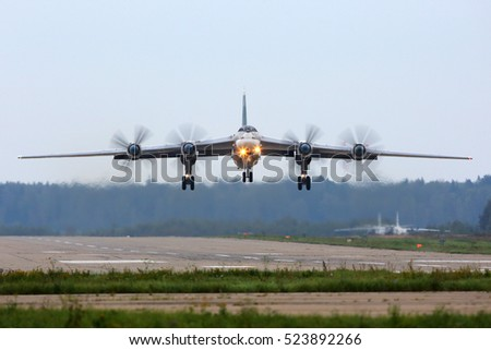 KUBINKA, MOSCOW REGION, RUSSIA - SEPTEMBER 12, 2016:: Tupolev Tu-95MS RF-94178 (NATO code name: Bear) strategic bomber taking off at Kubinka air base during Army-2016 military forum.