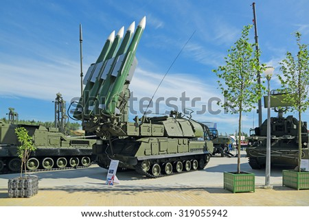 KUBINKA, RUSSIA - JUN 19, 2015: International military-technical forum ARMY-2015 in military-Patriotic park. The Buk (SA-11 Gadfly) - russian self-propelled, medium-range surface-to-air missile system - stock photo