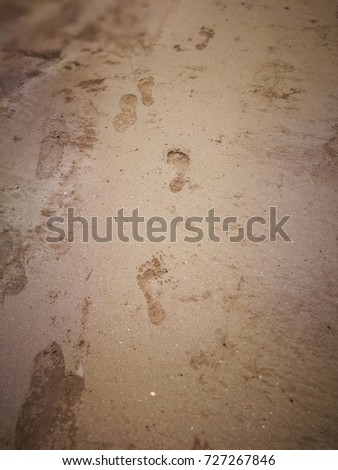 kuching sarawak, september23th 2017 : foot print at beach of bako national park