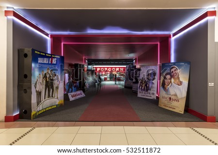 "Kucukcekmece,Turkey, SHOPPING MALL ""MEGA"" - December 01 2016:The Arena Park shopping center movie theater is the poster of the movies on the vista."